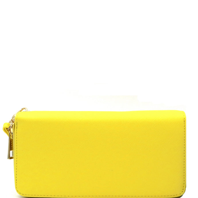 Saffiano Double Zip-Around Wristlet Yellow Wallet