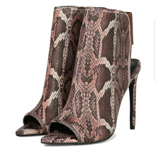 Penelope Brown Snake Ankle Boots