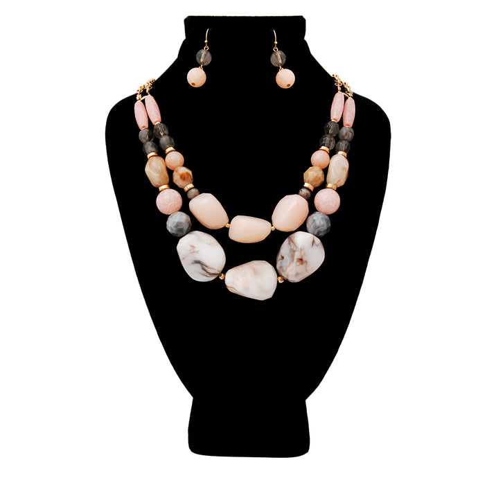 Gold with Pink and Gray Swirled Marble and Stone Bead Necklace Set