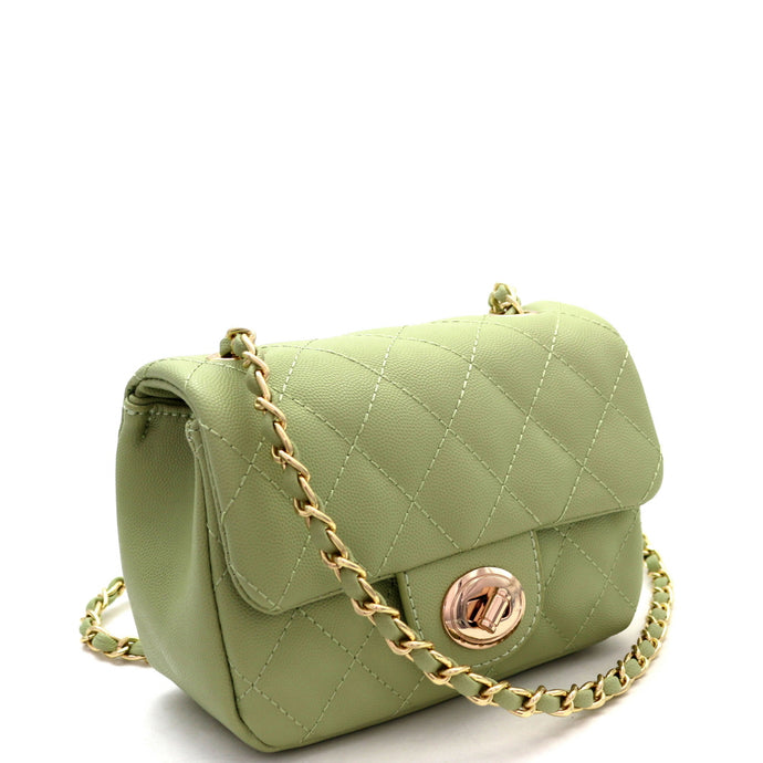 Quilted Turn-Lock Chain Cross Body Green Shoulder Bag