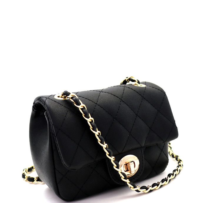 Quilted Turn-Lock Chain Cross Body Black Shoulder Bag
