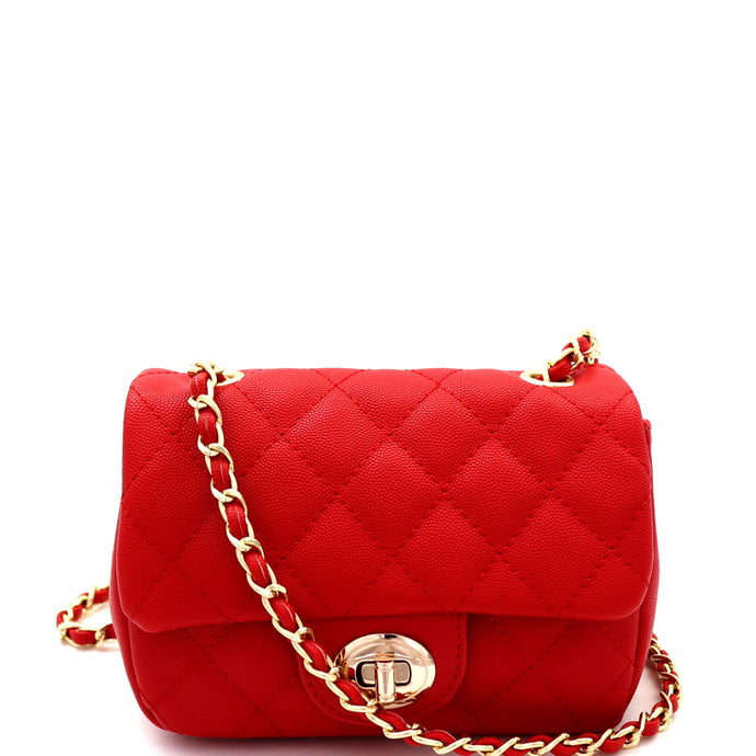Quilted Turn-Lock Chain Cross Body Red Shoulder Bag
