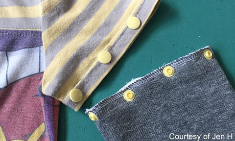 Convert Short Sleeves to Long with KAM no-sew button fasteners