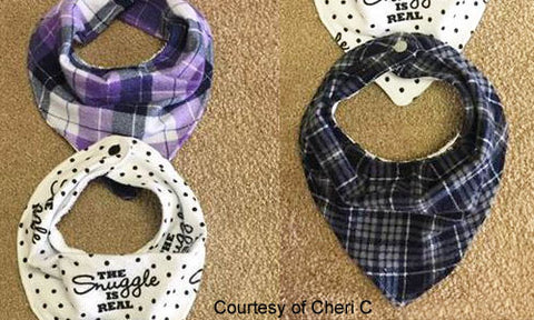 Bandana Bibs for Babies and Special Needs Children with KAM snap no-sew button fasteners