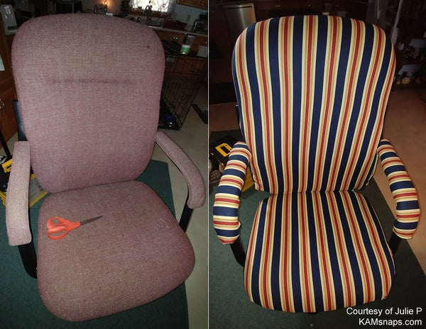 Reupholster old chair with new fabric and KAM snap fasteners