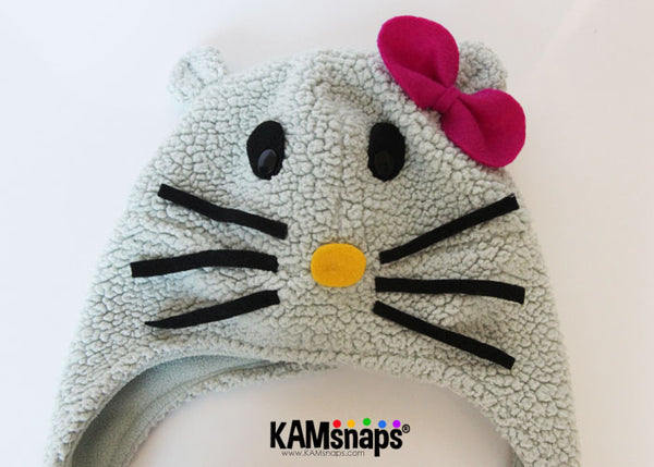 DIY Hello Kitty Toddler Kid Child Hat with KAM Snap Fasteners Easy No Sew Tutorial