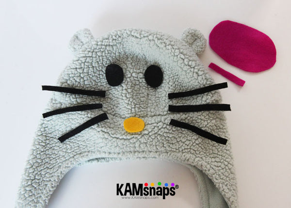 DIY Hello Kitty Toddler Hat with KAM Snap Fasteners and Felt Scraps