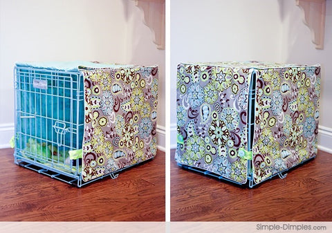 How to make a dog crate kennel cover from dimplicity.com