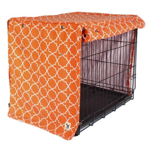 Dog crate kennel cover with KAM snap fasteners adjustable flaps