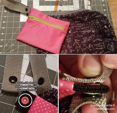 Double-Sided Prong Stud Snap Fasteners for Adding Wipe Pouch to Wet Diaper Bag