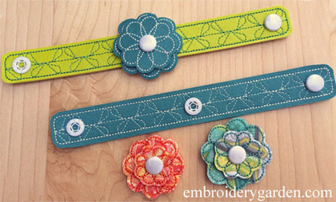 DIY Interchangeable Snap-On Flowers Bracelet with KAM Button Snaps