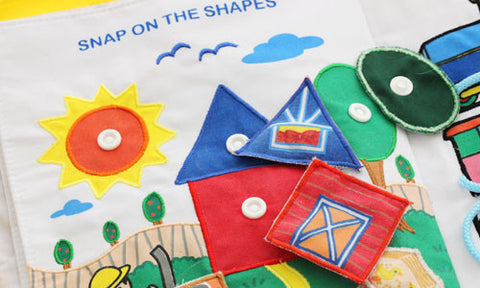 Snap On Button Shapes Quiet Book Learning Kids Activity Page