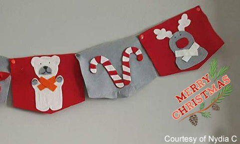 Christmas Holiday Banner with KAM no-sew button fasteners