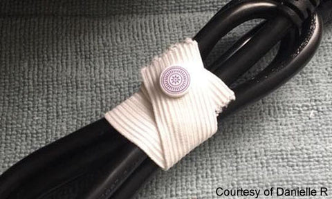 Cord Wrap with KAM snap no-sew button fasteners