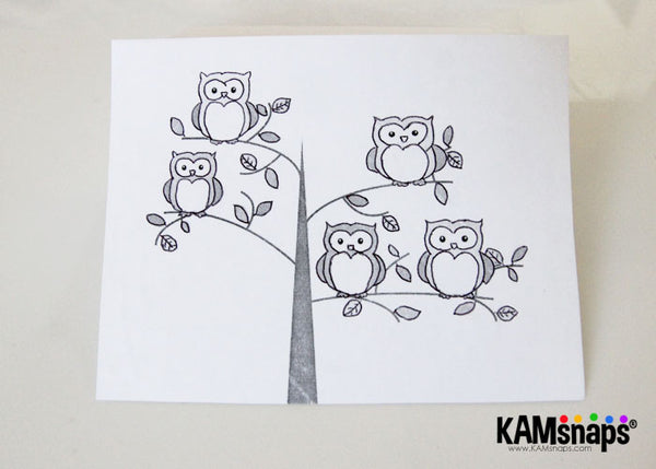 How to make a greeting card using KAM snap fasteners engraved owl snaps