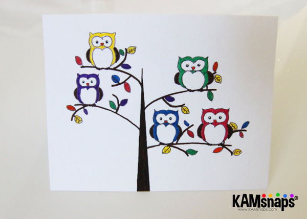 How to make a greeting card using KAM snap fasteners owl themed colorful engraved snaps