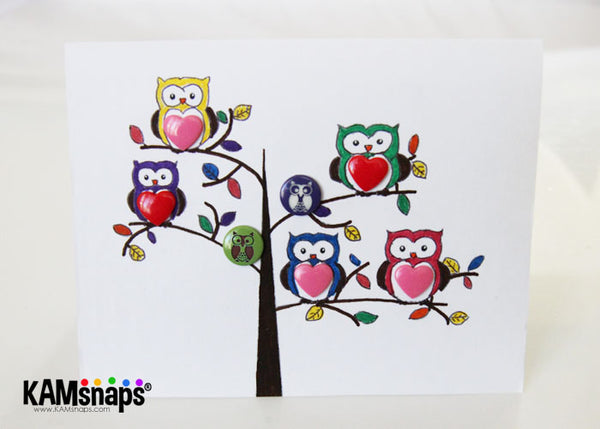 How to make a greeting card using KAM snap fasteners owl engraved snaps DIY tutorial