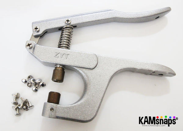KAM metal snaps snap fasteners silver double cap rivets prong hand press pliers installation tool