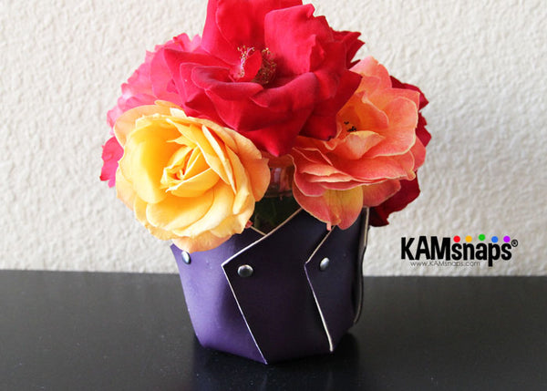 DIY tutorial marine vinyl leather vase with KAM metal double cap rivets rivet prongs