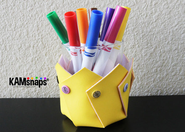 KAM snap fasteners snap swirly bowl pencil pens marker holder