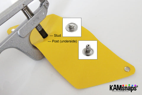 Origami triangle coin purse easy no sew tutorial with KAM snaps metal button fasteners stud post install with hand press pliers