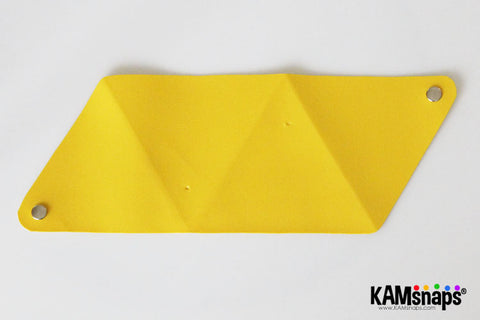 Origami triangle coin purse easy no sew tutorial with KAM snaps metal button fasteners location of holes