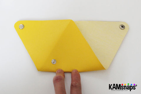 Origami triangle coin purse easy no sew tutorial with KAM snaps metal button fasteners how to fold