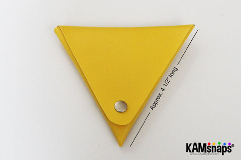 Origami triangle coin purse easy no sew tutorial with KAM snaps metal button fasteners how to finish fold closed