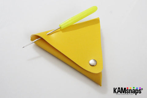 Origami triangle coin purse easy no sew tutorial with KAM snaps metal button fasteners poke hole for grommet eyelet