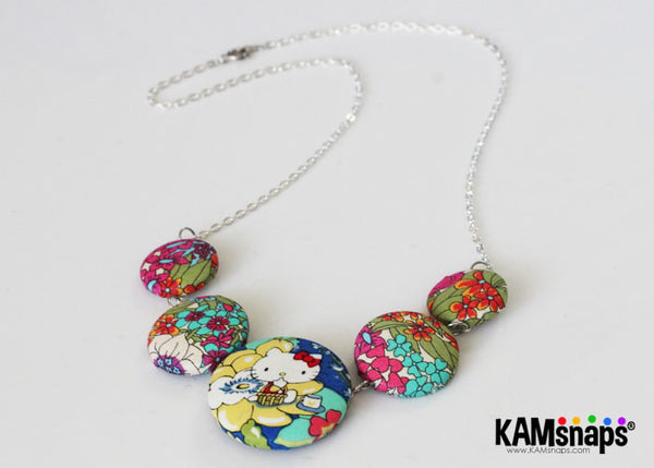 Fabric Covered Cover Button Necklace DIY Tutorial Jewelry Making Instructions Unique Fun Craft Project