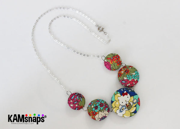 Fabric Covered Cover Button Necklace DIY Tutorial Jewelry Making Instructions Step by Step