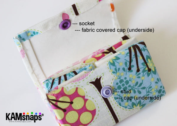 Make Fabric Covered KAM Plastic Snaps with Cover Buttons Socket Stud Caps Installed