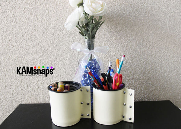 Leather marine vinyl vase container wrap cover with metal rivets stud snaps DIY tutorial easy decorating project