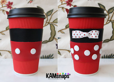 matching mickey minnie mouse diy tutorial no sew coffee cup cozy sleeve with kam snap fasteners