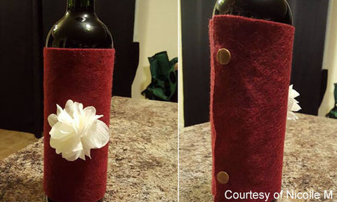 Decorative Wine Sleeve Gift Wrap with KAM snap fasteners