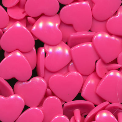 KAM Plastic Snaps Heart Hearts Shapes Size 20 Sets B47 Neon Pink Love