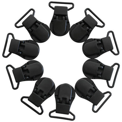 Wide Black KAM Plastic Clips for Baby Pacifiers, Toys, Sippy Cups