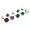 Multi-Color Crystal Rhinestone Rivets - Silver Finish