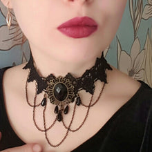 HMS 2019 Fashion Gothic Choker Necklace Vintage Tattoo Tassel Punk Style Lace Pendant