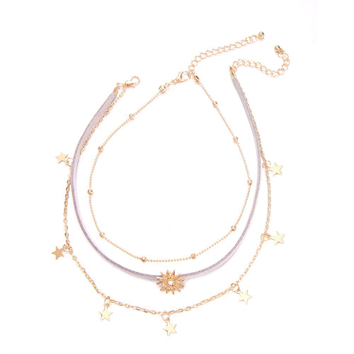 Hot Miami Shades Gold Color Velvet Crystal Choker Necklace
