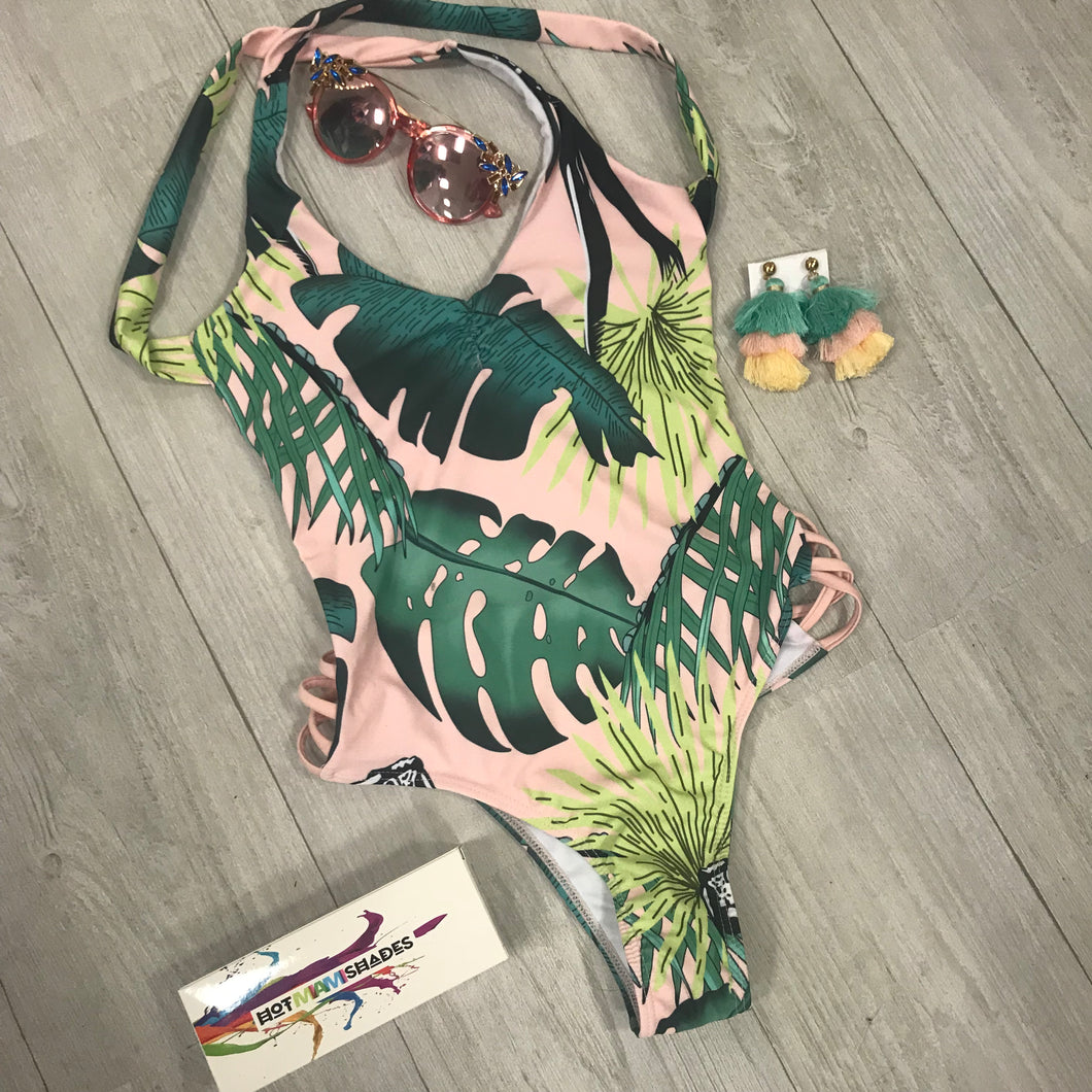 Millennial Pink Palms One Piece Swimwear