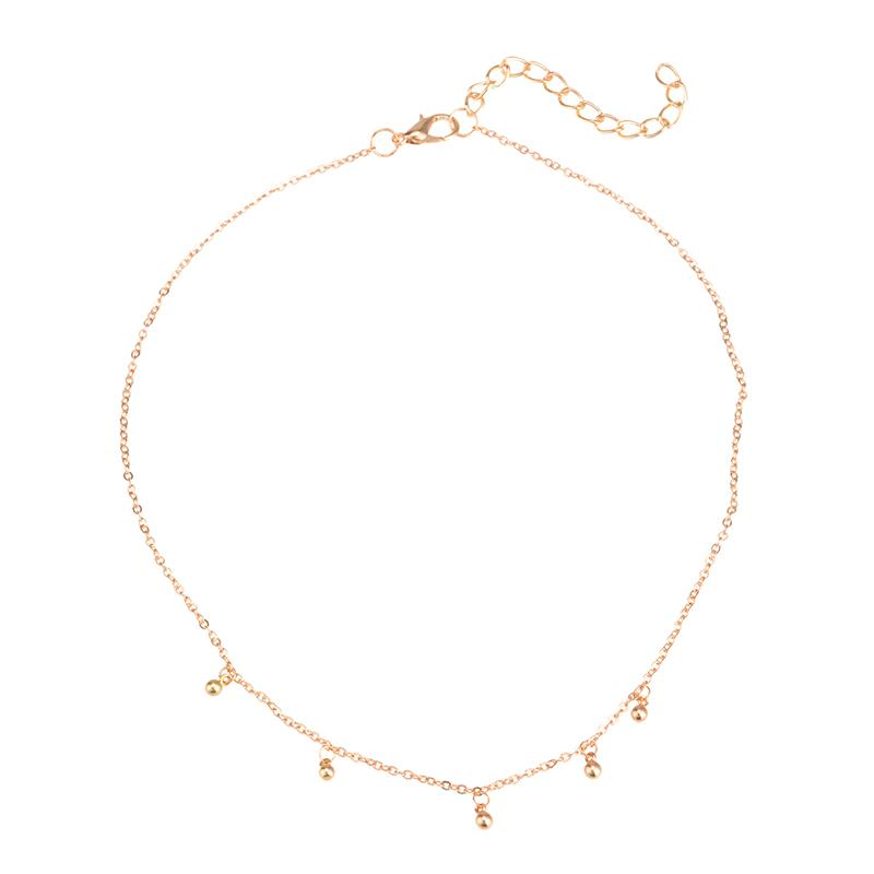 Simple and Delicate Beaded Gold or Silver Chain Necklace