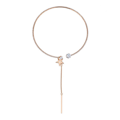 Simple Choker - Star - Gold or Silver Finish