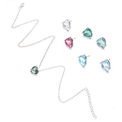 Hot Miami Shades Colorful Heart Necklace & Ring