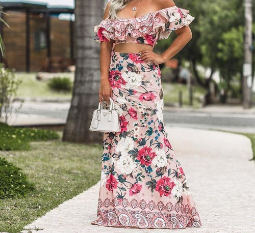 Boho floral two-piece suits dress for Women - Off shoulder ruffle crop long beach dress - 0611