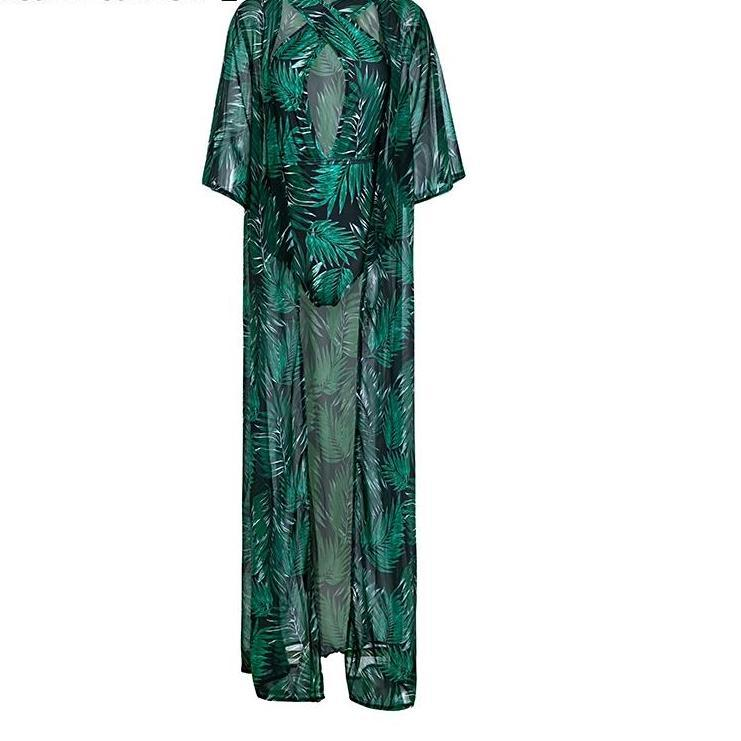 Famous Palm Print two-piece jumpsuit with chiffon kimono / coverup - 2 Pieces