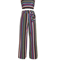 Striped Jumpsuit - Spandex for Comfort - Colorful Stipe Pant and Crop Top 2 Piece Set