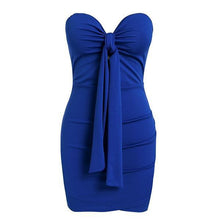 Strapless backless party dress for Women - bodycon blue dress - 0611 Red, Black, Blue, White