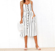 Buttons striped blue casual dress - Women backless dress - 0611