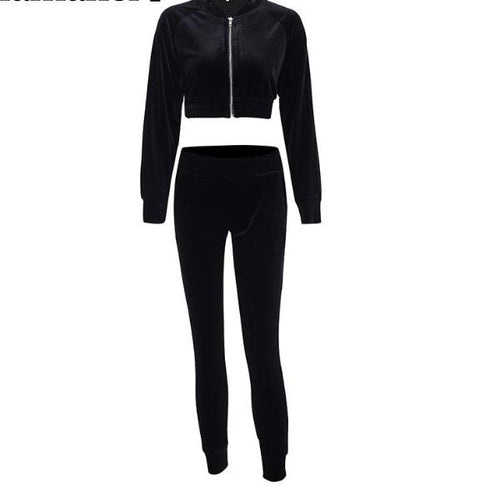 Velvet Track Suit - Velvet Crop Top Track Suit Set Black